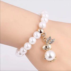 Jeweled Pearl Bunny bracelet $20 bulk of 12!